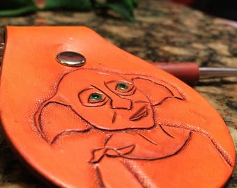 Hand tooled leather key fob, Leather keychain, Harry Potter, Dobby, House Elf