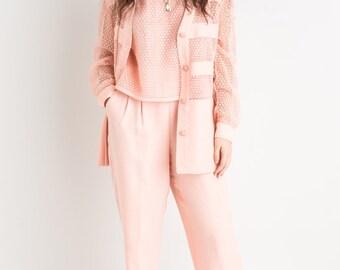80s Pastel Pink 3 Piece Suit
