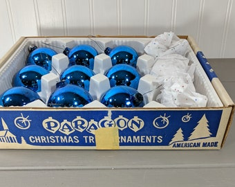 Vintage Blue Paragon Glass Christmas Tree Ornaments, Box of 9 Blue American Made Glass Christmas Ornaments with Unique Hanger System