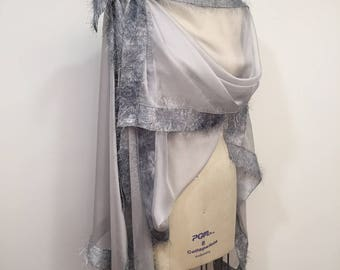 Asymmetric Gray Silk Chiffon Poncho, Light Weight Wrap, Plus Size, One Size, Eyelashes Trim, Shawl, Cape