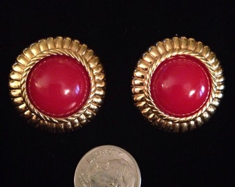 Vintage Monet Gold Round Earrings Deep Red Center