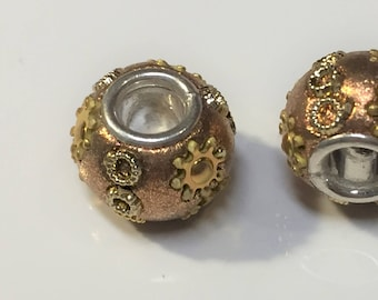 CLEARANCE:  1 Gold and Silver Resin Crystal Rondelle, Dione, 5mm round, large hole slider bead