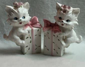 Salt and Pepper - White Kitties on Giftbox (#051)