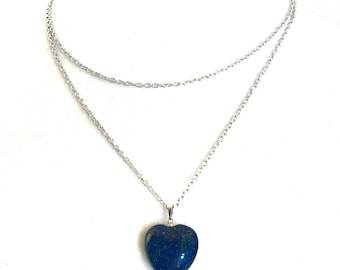 Blue Sandstone heart necklace / opalite jewelry / sandstone jewelry / sparkle stone / heart jewelry / chakra jewelry / Mothers Day