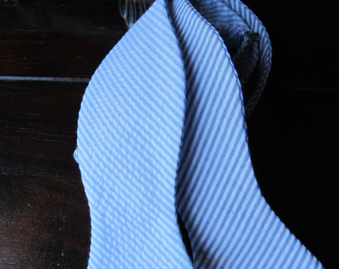 Mens Freestyle Bow Tie in Blue and Grey Seersucker,  Mens Freestyle Bow tie, Self Tied Bow Tie Handmade by TwoLCreations