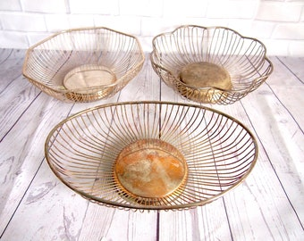 Vintage Silver Plated Wire Baskets