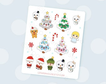 Christmas Stickers, Cute Kawaii Glossy Planner stickers, Journaling, Scrapbooking