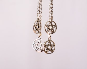 Pentagram earrings / Chain earrings
