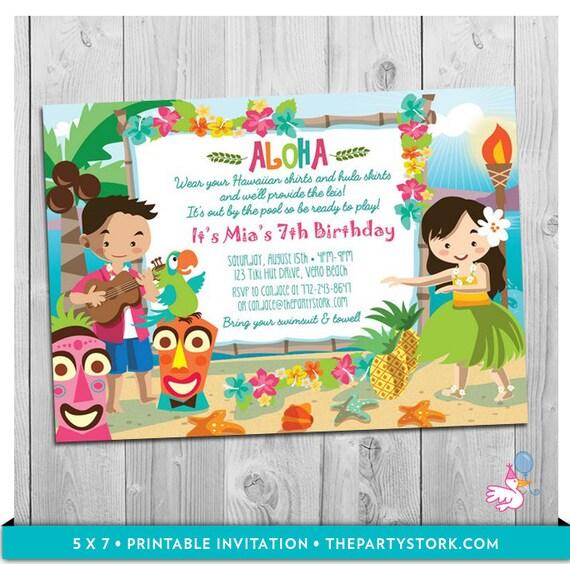 Luau Party Invitation: Printable Girls Birthday Hawaiian Luau