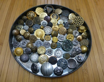 Old button lot-vintage metal fancy buttons collection