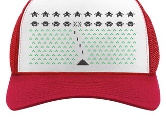 Space Geeky Xmas Invaders Funny Ugly Christmas Trucker Hat Mesh Cap