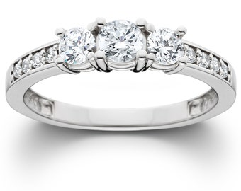 Diamond 1.00CT SI 3-Stone Engagement Ring 14K White Gold