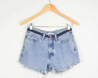 90s Tommy Hilfiger Shorts Small, Vintage Clothing, 90s Clothing, Grunge Faded Distressed, 90s Clothes, Small Shorts, Cheeky Shorts
