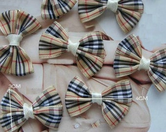 Wholesale Lot  : 50pcs   Gingham ribbon bow, DIY Sewing , gift wrapping   3*4cm
