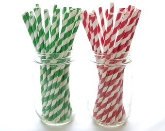 Green and Red Christmas Party Straws, Holiday Candy Cane Stripe Straws, 50 Pack - Red & Green Straws