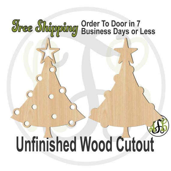 Round Ornament Christmas Tree Outline or Solid - 180087-88- Christmas Cutout, unfinished, wood cutout, laser cut shape, wood cut out, wooden