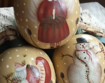 Christmas Ornaments, Tree Ornaments, Painted Ornaments, Wood Ornaments, Folk Art Ornaments, Primitive Ornaments, Holiday Ornaments, Rustic
