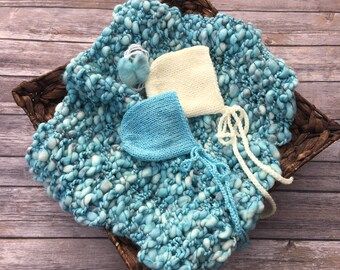 Teal Cream bump blanket layer bonnet wool bow tie back boy girl twin triplet newborn photography photo prop set blue cream turquoise