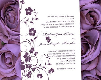 """Printable Wedding Invitation """"Madison"""" in Plum Purple All Colors Make Your Own Wedding Invitations Word.doc Template DIY You Print"""