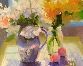 DAISIES. Original still life art work, painting of roses and daisies, yellow and purple