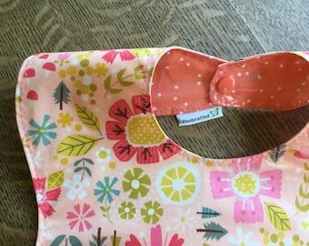 Laminated Snappy Pocket Bib, Goldilocks floral by Riley Blake, Coral, peach, citrus, Crumb catcher, self feeder NOT oilcloth, BPA Free