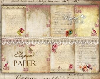 Elegant Paper - background - digital collage sheet - set of 8 - Printable Download