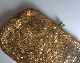 1950's vintage handbag - Sequins and gold embroidered beads evening purse - small chic handbag