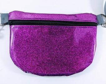 Glitter Fanny Pack, Glitter Bum Bag, Purple Bag, Glitter Waist Bag, Glitter Crossbody Bag, Glitter Vinyl, Festival Bag, Roller Derby Bag