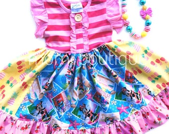 Minnie Mouse Aulani Hawaiian luau Disney dress Pink Momi girls boutique clothing