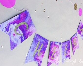 Cheers Marble Paper Banner