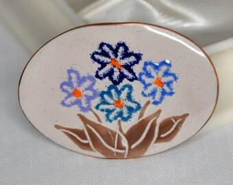 Vintage Enamel Floral Brooch on Copper 70's - Exquisite