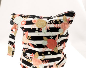 Black/Gold/Blush/Mint Floral Wet Bag