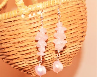 Pink Rose Quartz and Pearl Earrings