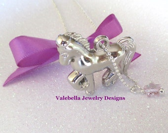 Necklace Star Stallion swarovski crystal 3D horse pony animal equestrian double sided charm girls kids tween teen jewelry horseback riding