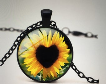 Woman Sunflower glass pendant necklace