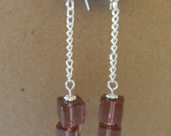 Silver and Plum Pressed Glass Dangle Earrings