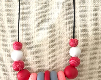 Red and grey handmade polymer clay chunky necklace, 70cm polyester cord with breakaway clasp