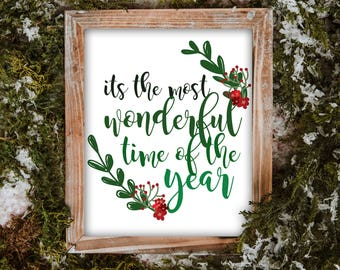 Christmas in July, It's The Most Wonderful Time Of The Year, Printable, Holiday Decor, Seasonal Decor, Christmas Wall Art, Quote Print, PDF