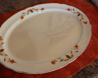 "Jewel Tea Autumn Leaf 13"" Ruffled D Platter"