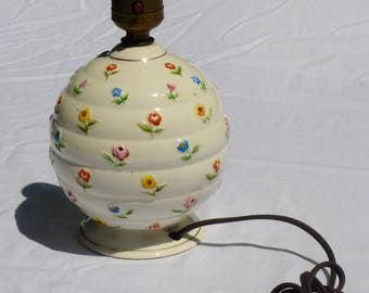 vintage porcelain side lamp, white with multi colored flowers