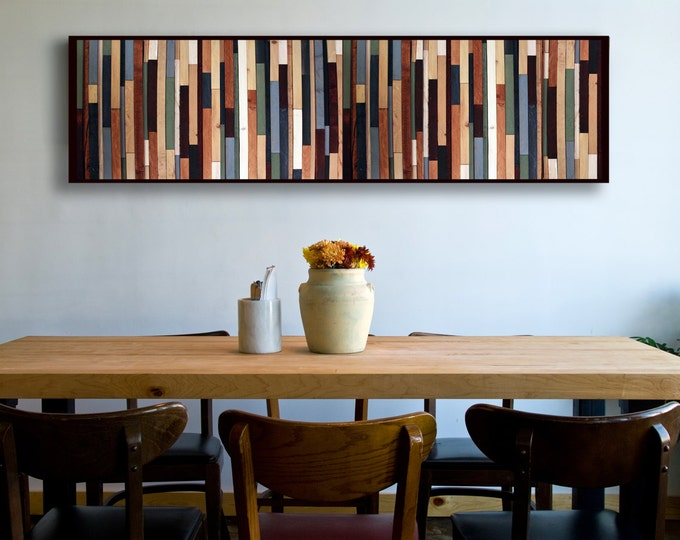 "Reclaimed Wood Art - ""Sea Crest"" in Browns, Blues, Green, and White Stripes - Modern Wood Wall Art - Abstract Minimalist Art"