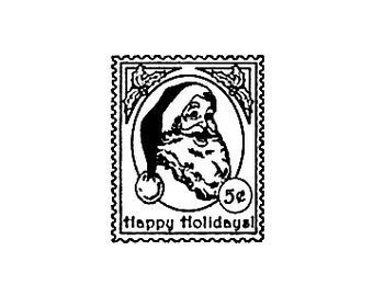 Santa Postage Stamp Rubber Stamp Happy Holidays