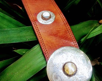Vintage moroccan leather belt with silver buckle