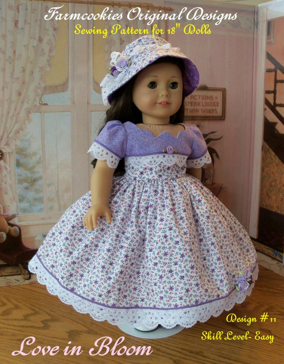 "PDF SEWING PATTERN / Love in Bloom  / Fits American Girl® or Other 18"" Dolls"