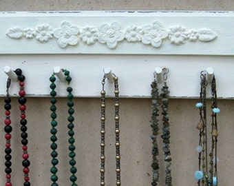 NECKLACE HOLDER Jewelry Organizer And Display  Cream Shabby Chic