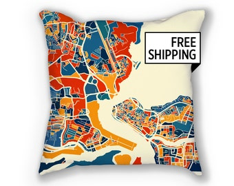 Lagos Map Pillow - Nigeria Map Pillow 18x18