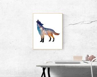 Wolf Galaxy Digital Print