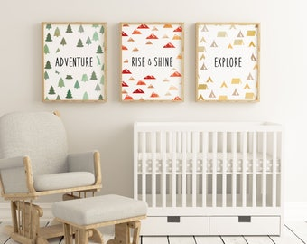 Adventurous Boy Nursery or Little Boys Room Poster Set of 3