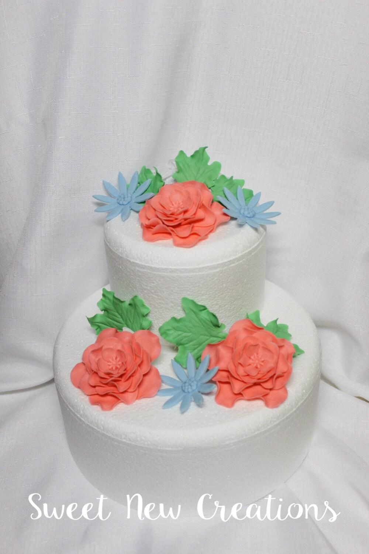 wedding cake flowers 24pcs coral fondant flowers edible