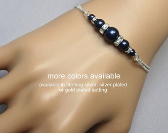 Swarovski Navy Pearl Bracelet, Personalized Dark Blue Bridesmaid Bracelet, Wedding Bracelet, Bridesmaid Gift, Will You Be My Bridesmaid